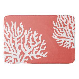 Coastal White Sea Coral & Coral Pink Bath Mat