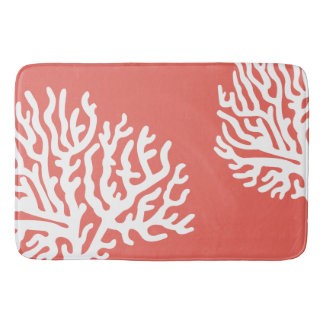 Coastal White Sea Coral & Coral Pink Bath Mat