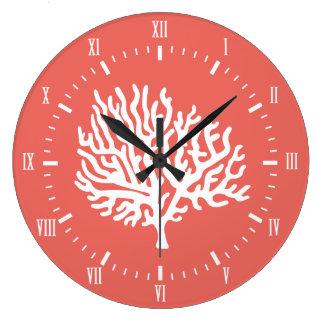 Coastal White Sea Coral & Coral Pink Large Clock