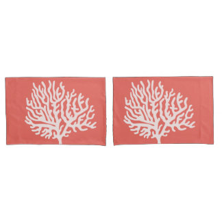 Coastal White Sea Coral & Coral Pink Pillowcase