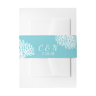 Coastal White Sea Coral Couple's Initials Wedding Invitation Belly Band