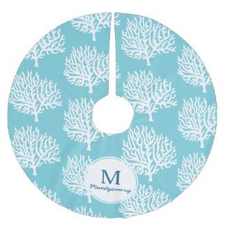 Coastal White Sea Coral & Family Name Brushed Polyester Tree Skirt
