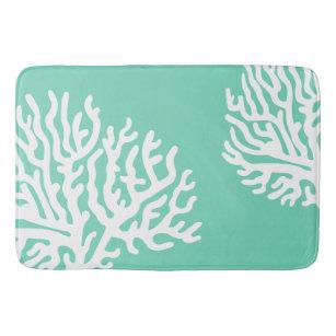 Coastal White Sea Coral & Sea Glass Green Bath Mat