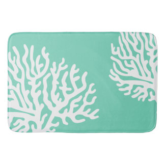 Coastal White Sea Coral & Sea Glass Green Bath Mat