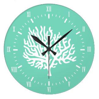 Coastal White Sea Coral & Sea Glass Green Large Clock
