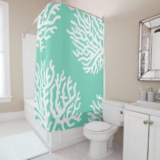 Coastal White Sea Coral & Sea Glass Green Shower Curtain