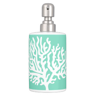 Coastal White Sea Coral & Sea Glass Green Soap Dispenser And Toothbrush Holder