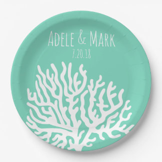 Coastal White Sea Coral Sea Glass Green Wedding Paper Plate