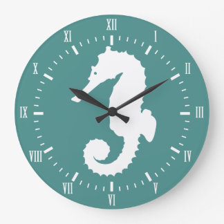 Coastal White Seahorse & Green Roman Numerals Name Large Clock