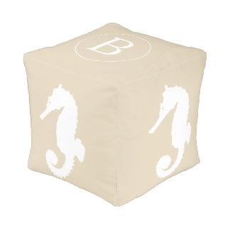 Coastal White Seahorse & Monogram Pouf
