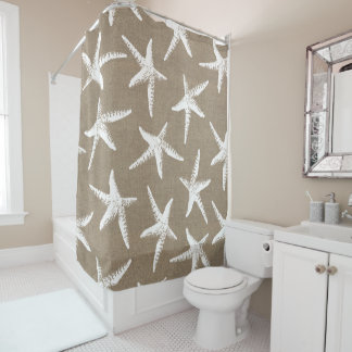 Coastal White Starfish & Faux Burlap Shower Curtain