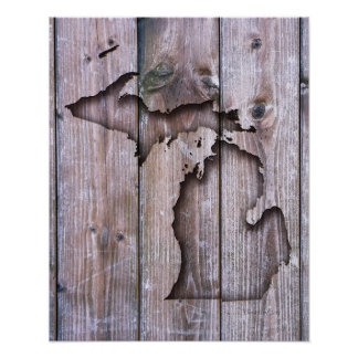 Coastal Wood Carved Michigan   Faux Wood Carving Poster