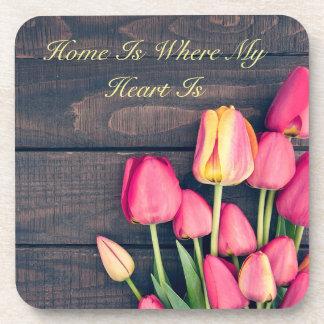 Coaster--Dark Pink Tulips & Wood Coaster