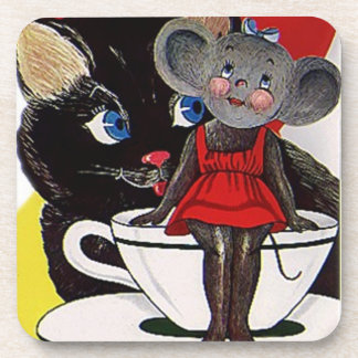 Coaster Fun Vintage Cute Cat & Mouse Tea Party