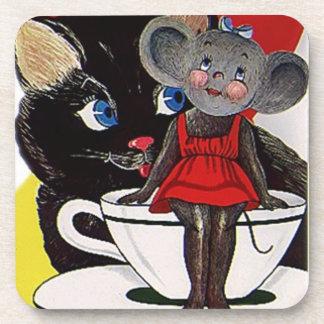 Coaster Fun Vintage Cute Cat & Mouse Tea Party