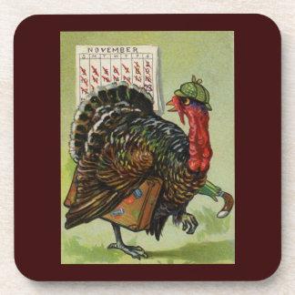 Coaster - Funny Vintage Thanksgiving Turkey