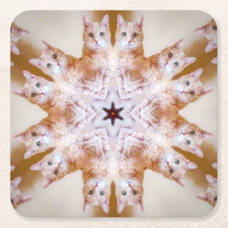 COASTER - Orange Snowflake Cat Kaleidoscope Design