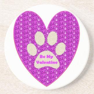 Coaster Paw Heart Pink White Be My Valentine