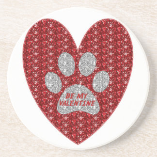 Coaster Paw Heart Red Silver Be My Valentine
