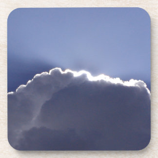 Coaster set with photo of cloud with silver lining