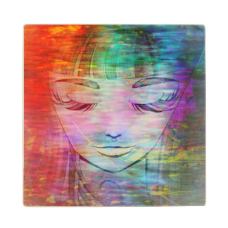 Coaster with colorful grunge girl Illustration