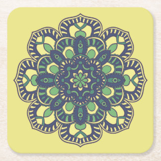 Coaster with Mandala Floral Pattern Print