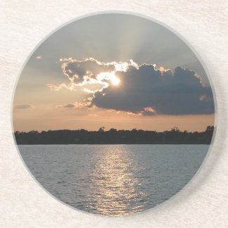coaster with photo of silver-lining sunset