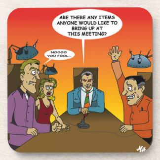 Coaster with workplace illustration, humor.