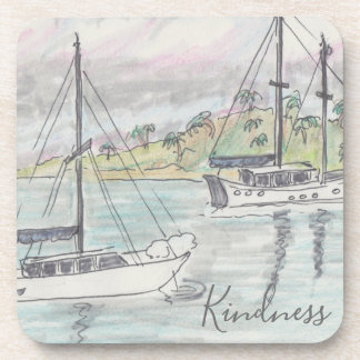 "Coasters ""Boats Fiji Watercolor Sketch """