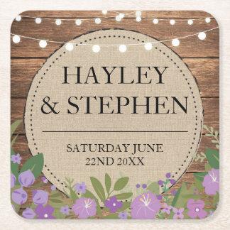 Coasters Burlap Lights Purple Floral Wedding Party