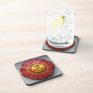 Coasters (Cork) with hand-painted smiling flower