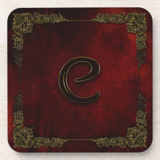 "COASTERS INITIAL ""C"" - WINE RED/GOLD TRIM BEVERAGE COASTER"
