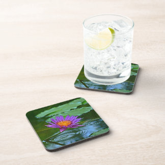"""COASTERS/SET OF 6 """"PURPLE AND GOLD WATER LILY"""" BEVERAGE COASTERS"""