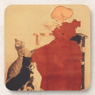 Coasters Vintage Art Girl sipping milk with cats