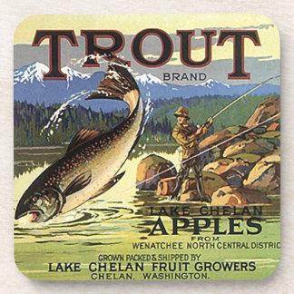 Coasters Vintage Trout Apple Crate Label Ad Chelan