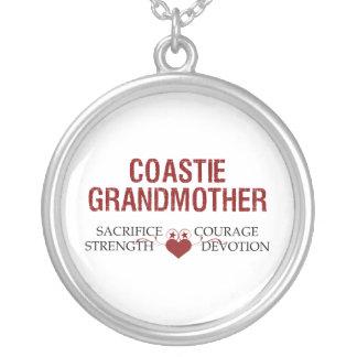 Coastie Grandmother Sacrifice, Strength, Courage Round Pendant Necklace