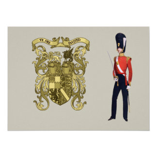 """Coat of Arms and Victorian Guard 5.5"""" X 7.5"""" Invitation Card"""