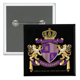 Coat of Arms Monogram Emblem Golden Lion Shield 15 Cm Square Badge