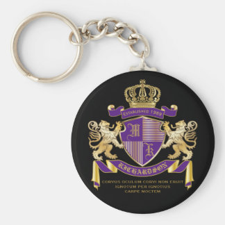 Coat of Arms Monogram Emblem Golden Lion Shield Basic Round Button Key Ring