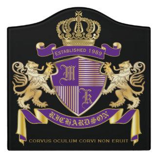 Coat of Arms Monogram Emblem Golden Lion Shield Door Sign
