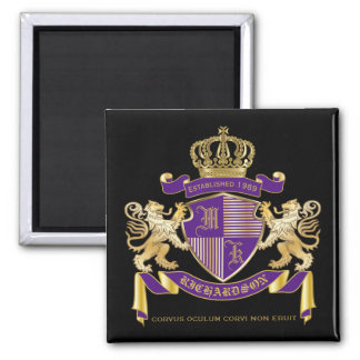Coat of Arms Monogram Emblem Golden Lion Shield Magnet