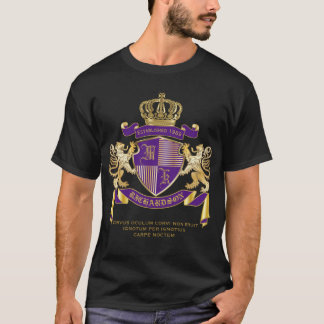 Coat of Arms Monogram Emblem Golden Lion Shield T-Shirt