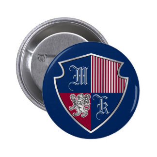 Coat of Arms Monogram Emblem Silver Lion Shield 6 Cm Round Badge