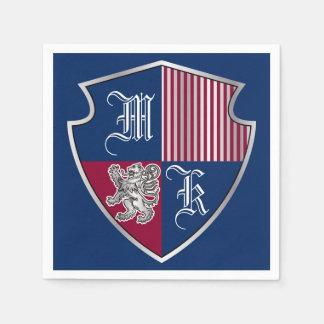 Coat of Arms Monogram Emblem Silver Lion Shield Disposable Napkin