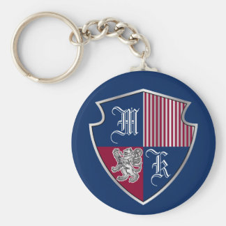 Coat of Arms Monogram Emblem Silver Lion Shield Key Ring