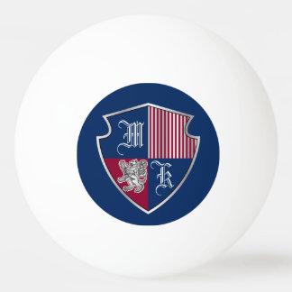 Coat of Arms Monogram Emblem Silver Lion Shield Ping Pong Ball
