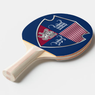 Coat of Arms Monogram Emblem Silver Lion Shield Ping Pong Paddle