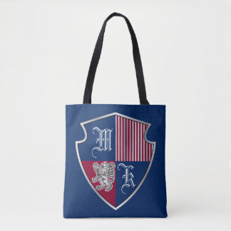 Coat of Arms Monogram Emblem Silver Lion Shield Tote Bag