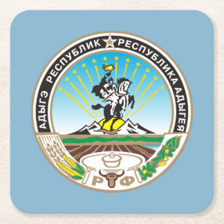Coat of arms of Adygea Square Paper Coaster