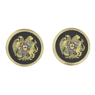 Coat of arms of Armenia Gold Gold Finish Cuff Links